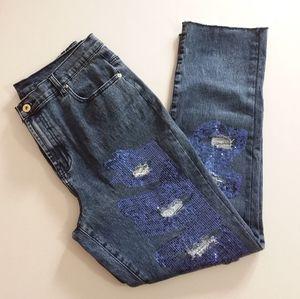 DG2 Diane Gilman Sequined Distressed Jeans
